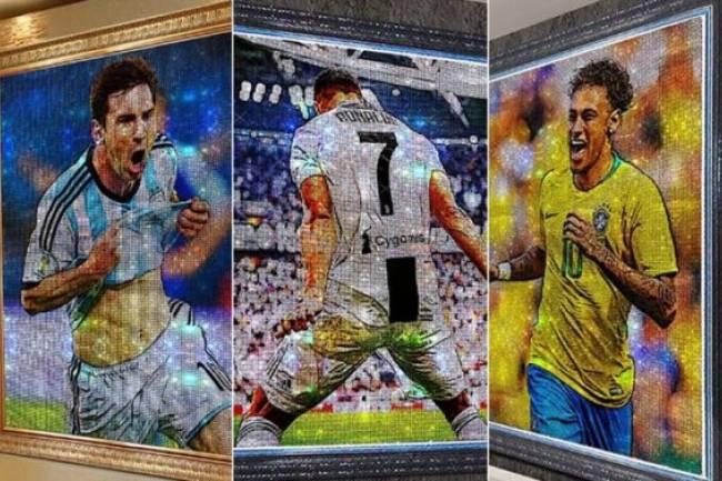 Messi, Ronaldo, Neymar y Mbappé inmortalizados en cuadros de cristales