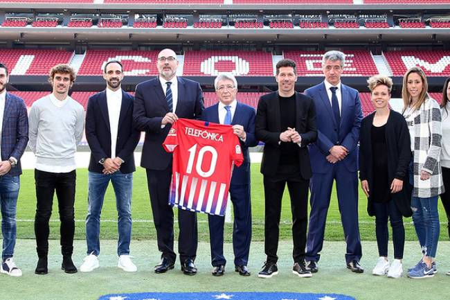 Telefónica renovó su contrato por cuatro años con Atlético de Madrid
